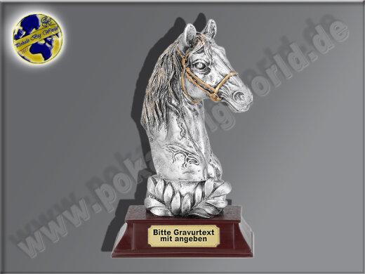 Pferdekopf mit Lorbeerkranz | 3D-Resin-Pokal, Multicolor (handbemalt), 17x10 cm