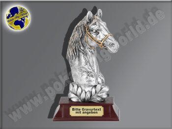 Pferdekopf mit Lorbeerkranz | 3D-Resin-Pokal, Multicolor...