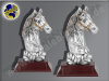 2er Pferdekopf mit Lorbeerkranz | 3D, Resin-Pokalserie, Multicolor (handbemalt), 17x10 u. 21x12,5 cm