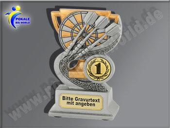 FG911  Dart-Resin-Pokal, Dartpfeile, Dartscheibe, Darten m. Gravur/Emblem, Resin-Pokal, Antik-Silber/Gold, 12,5x8x4 cm
