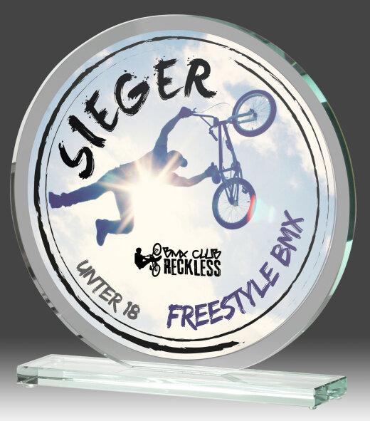 B335.2   Glaspokal inkl. edler Samt-Gift-Box, Transparent, mit Sublimationsdruck, 15x15 cm (inkl. Personalisierungskosten)