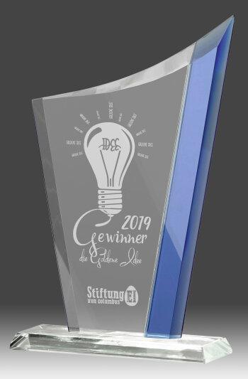 B337.1   Glaspokal inkl. edler Samt-Gift-Box, Transparent/Blau, mit Laser-Gravur, 12,5x20 cm (inkl. Personalisierungskosten)