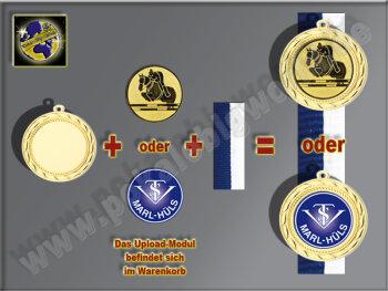 D114.26   Bronze-Medaille, 70mm Ø, m. Band und eigenem Logo/Emblem, (unmontiert)