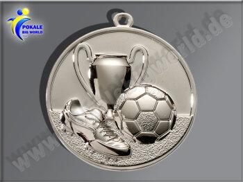 """E213.2   Silber-Medaille-Motiv """"Fußball"""", 50mm Ø, m. Band (unmontiert)"""
