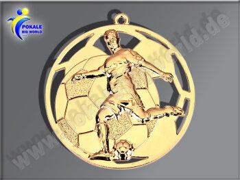 """E235.1   Gold-Medaille-Motiv """"Fußball"""", 50mm Ø, m. Band (unmontiert)"""