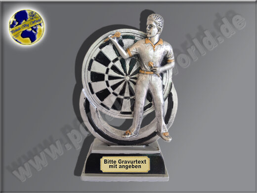 FG623  Dartspieler-Resin-Pokal in 3D-Optik, mit Gravur, Resin-Pokal, Antik-Silber/Gold, 17,5x9,5x5,5 cm