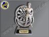 FG623  Dartspieler-Resin-Pokal in 3D-Optik, mit Gravur, Resin-Pokal, Antik-Silber/Gold, 17,5x9,5x5,5 cm
