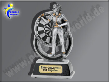 FG625  Dartspielerin-Resin-Pokal in 3D-Optik, mit Gravur,...