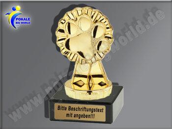 Pfote, Katzenpfote, Tierpfote-Mini-Pokal, Gold, 10x5 cm