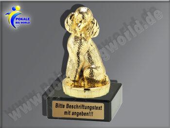 Pudel, Hund-Mini-Pokal, Gold, 10x4 cm