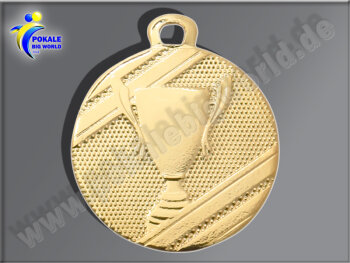 D106.01   Gold-Medaille-Motiv Pokal, 32mm Ø, m. Band...