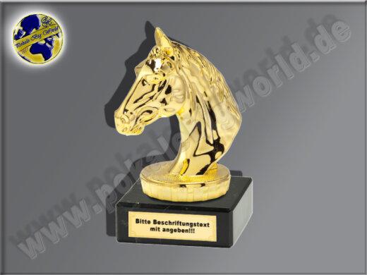 Pferdekopf, Reiten, Pferdesport-Mini-Pokal, Gold, 10x7 cm