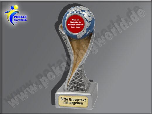 Globus, Weltkugel, Weltpokal-Resin-Pokal, Multicolor (handbemalt), 17x5,3 cm
