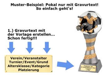 Fußball-Resin-Pokal, Multicolor (handbemalt), 24x6,2 cm