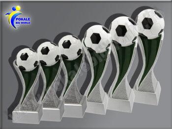 6er Fußball, Resin-Pokalserie, Multicolor (handbemalt), 14,5x5,1-17x5,3-19,5x5,5-24x6,2-27x6,7u.30x7,7 cm