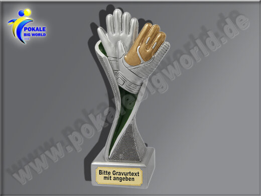 Torwart-Handschuhe-Resin-Pokal, Multicolor (handbemalt), 17x5,1 cm