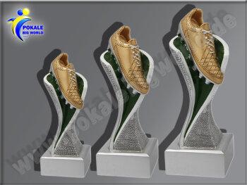 3er Fußballschuh, Resin-Pokalserie, Multicolor (handbemalt), 14,5x5,1-17x5,3 u. 19,5x5,5 cm