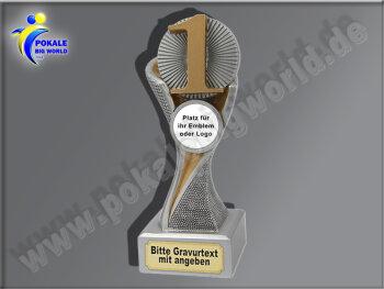 1. Platz (Zahl 1)-Resin-Pokal, Gold, 14,5x5,1 cm