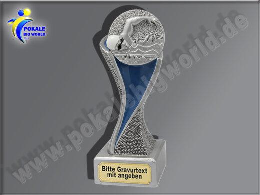 Schwimmen, Kraulen-Resin-Pokal, Silber, 14,5x5,1 cm