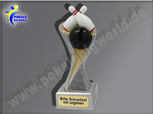 Bowling, Kegeln-Resin-Pokal, Multicolor (handbemalt), 17x5,3 cm