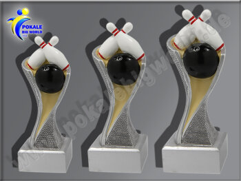 3er Bowling, Kegeln, Resin-Pokalserie, Multicolor...