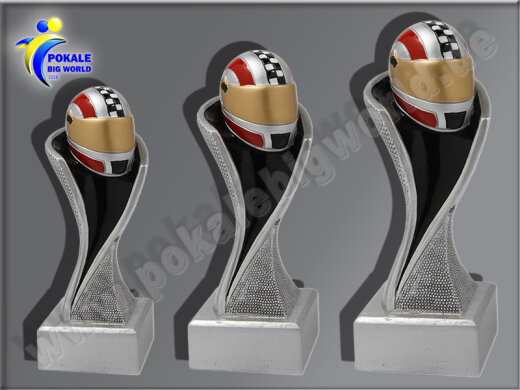 3er Helm, Motorsport, Motorradhelm, Resin-Pokalserie, Multicolor (handbemalt), 14,5x5,1-17x5,3 u. 19,5x5,5 cm