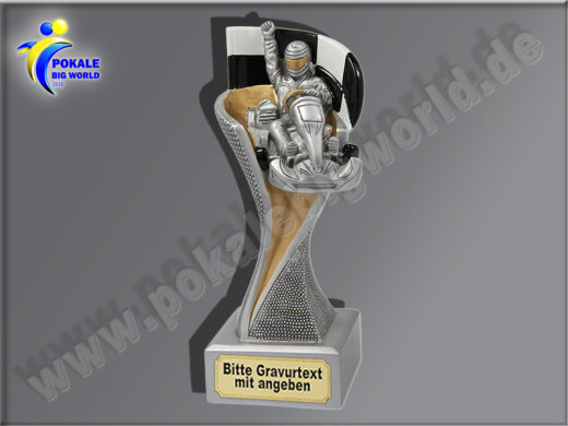 Kartfahren, Go Kart. Kart Racing-Resin-Pokal, Gold, 14,5x5,1 cm