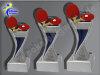 3er Tischtennis, Resin-Pokalserie, Multicolor (handbemalt), 14,5x5,1-17x5,3 u. 19,5x5,5 cm