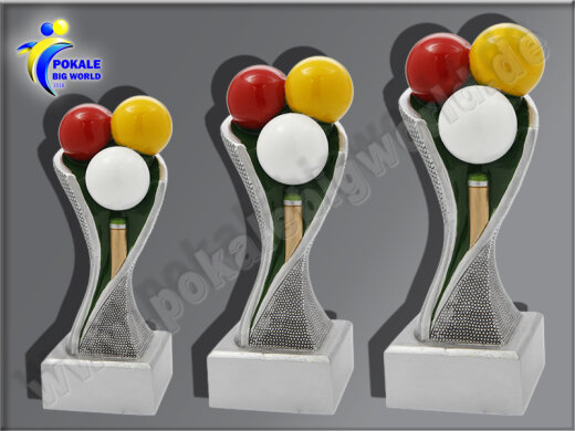 3er Billard, Queue, Resin-Pokalserie, Multicolor (handbemalt), 14,5x5,1-17x5,3 u. 19,5x5,5 cm