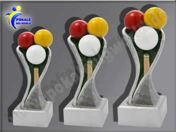 3er Billard, Queue, Resin-Pokalserie, Multicolor...