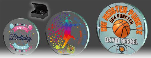 B349.0   3er Glaspokal-Serie inkl. edler Samt-Gift-Box, Transparent, mit Digitaldruck, 9,5x10-11,5x12-13,5x14 cm (inkl. Personalisierungskosten)