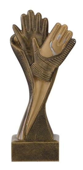 Fussball-Bester Torwart-Resin-Pokal, Silber/Gold (handbemalt), 17 cm