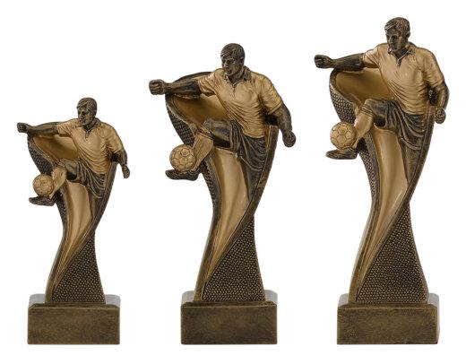 3er Fussball-Bester Spieler, Resin-Pokalserie, Silber/Gold (handbemalt), 14,5-17 u. 19,5 cm