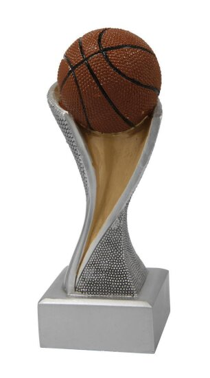 3er Basketball, Korbball, Resin-Pokalserie, Multicolor (handbemalt), 14,5x5,1-17x5,3 u. 19,5x5,5 cm