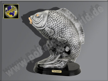 Karpfen-Fisch-Resin-Pokal, Silber, 37x30 cm